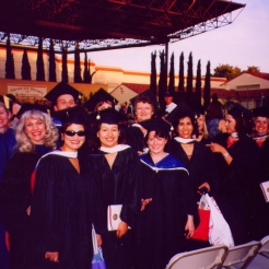 Jeanie, Carol with students at Hooding Ceremony STEPSS cohort
